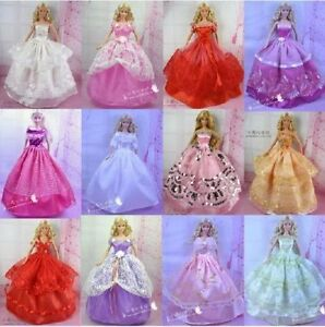 5Pcs-Handmade-Princess-Party-Gown-Dresses-Clothes-10-Shoes-For-Barbie-doll-QL