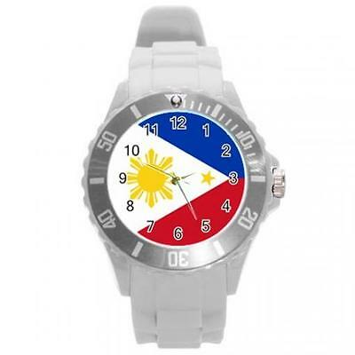Philippines Filipino Flag Round Plastic White Sport Watch Large Size