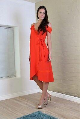 John Zack Wrap-over Dress Orange Coral