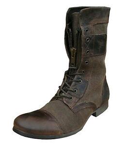 Henleys Sakura Men S Leather Textile Vintage Fashion Casual Boots Brown