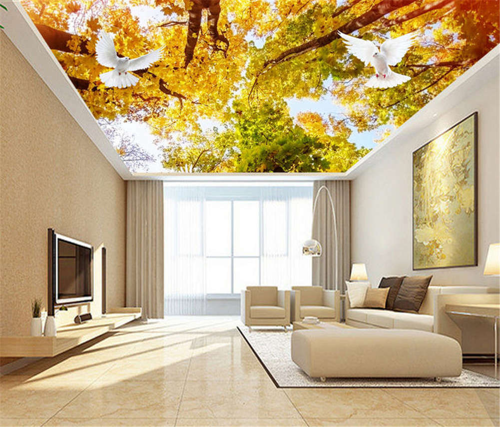 Secure Plain Woods 3D Ceiling Mural Full Wall Photo Wallpaper Print Home Decor