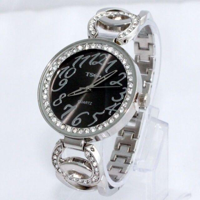 Ladies Fashion Silver & Rhinestone Crystal Quartz Bracelet Link Band Wrist Watch