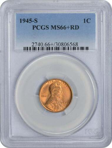 1945-S Lincoln Cent MS66+RD PCGS
