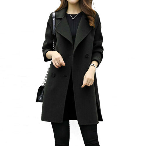 Women/'s Fashion Overcoat Woolen Trench Coat Ladies Winter Long Jacket Warm Coat