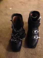 VTG1960's Leather Le Trappeur Ski Boots w Olympic Print FRANCE