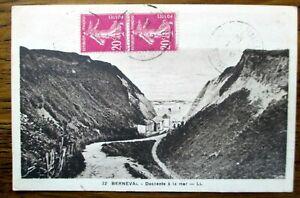 Consciencieux Cpa Berneval Descente à La Mer Ancienne Carte Postale Manuscrite Oblitérée