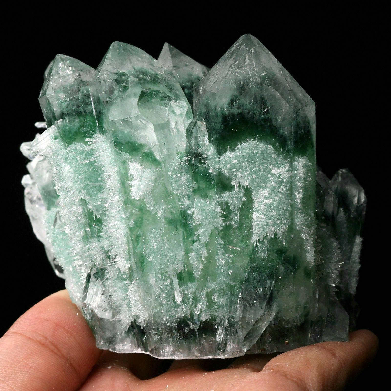 "Green Phantom Quartz Cluster 1.855 Lb 3.9""x3.9""x3.9"" Healing Energy"