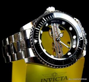 Invicta-Pro-Diver-Ghost-Bridge-Mechanical-Skeleton-Steel-Black-47mm-Watch-New