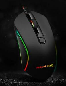 Pulselabz Gaming Office Mouse RGB Spectrum Backlit Ergonomic Mouse Programmable for Windows PC Gamers - Black Canada Preview