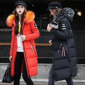 Women-Winter-Down-Cotton-Parka-Long-Big-Fur-Collar-Hooded-Coat-Jacket-outwear
