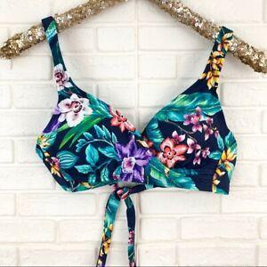 Coastal Blue sz S wrap front tropical floral bikini top navy blue removable pads