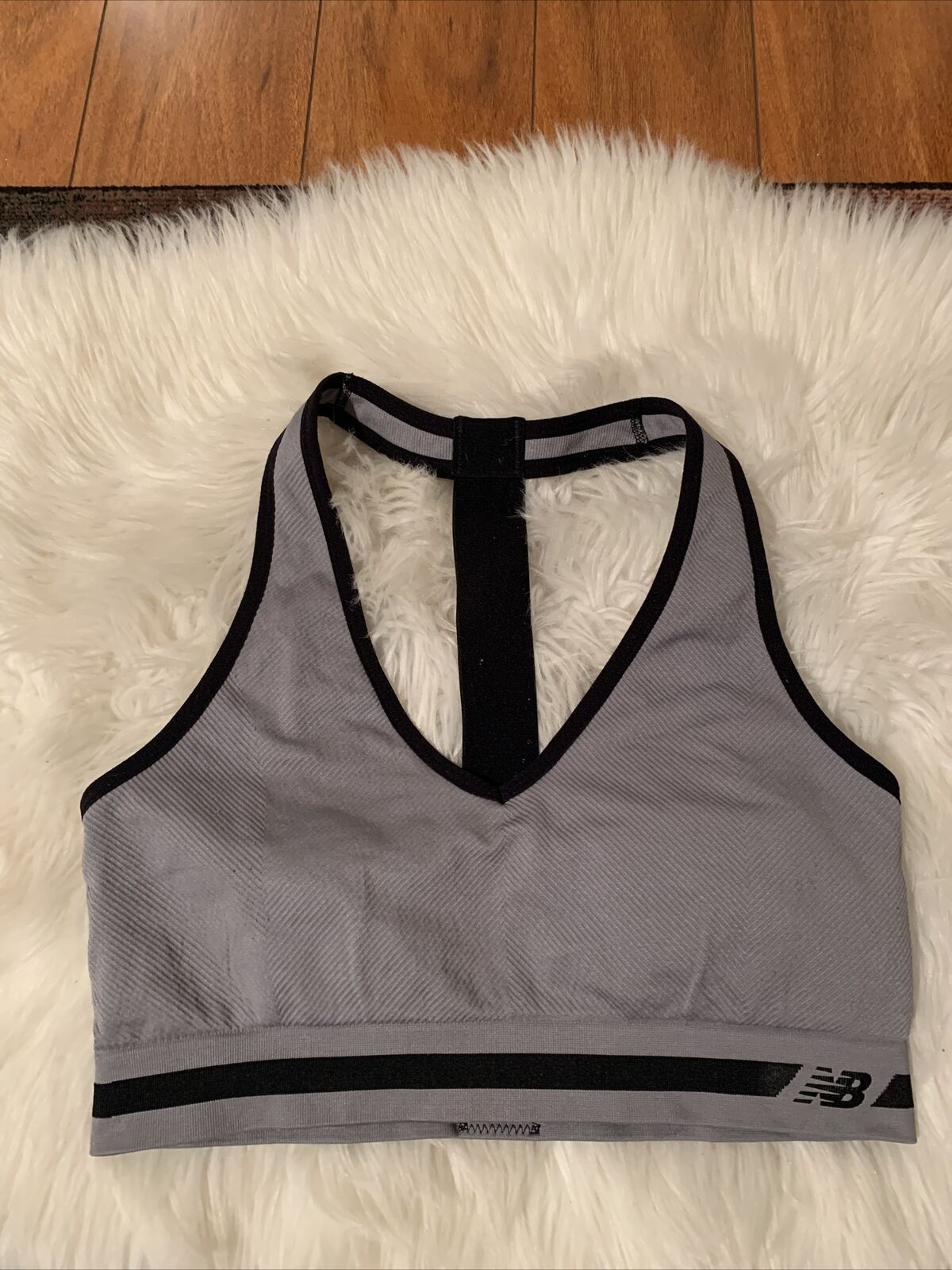 new balance XL gray sports bra racerback lightly lined great compression