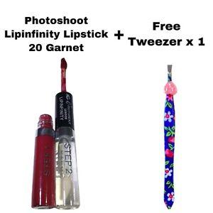 PHOTOSHOOT 2 STEP LIPINFINITY LIQUID LIPSTICK 20 GARNET & FREE TWEEZER x 1