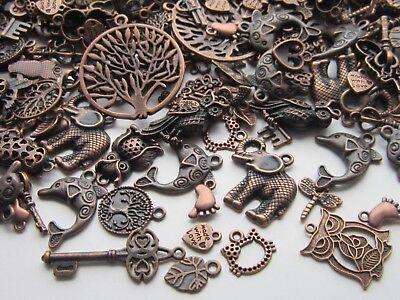 60 gr Tibetan Style Pendants charms mix antique red copper owl key heart tree
