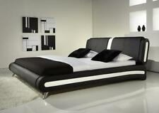 MODERN LEATHER BED BLACK & WHITE + MEMORY FOAM MATTRESS BEDS from 69.00