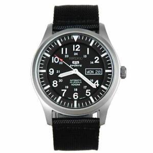 Seiko-5-Sports-Automatic-Black-Canvas-Strap-Mens-Watch-SNZG15K1-RRP-299