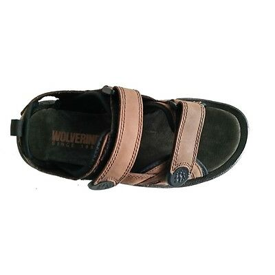 New Men's Wolverine MISSION W32061 brown leather sandals