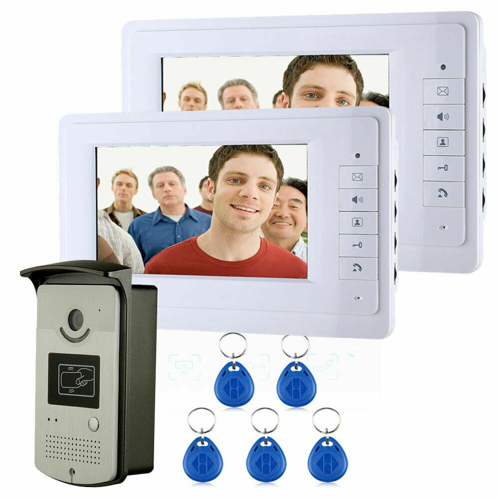 Nuevo 7  Sistema de teléfono de la puerta de intercomunicación de vídeo casero con 2 monitores blancoo + 1 cámara de infrarrojos