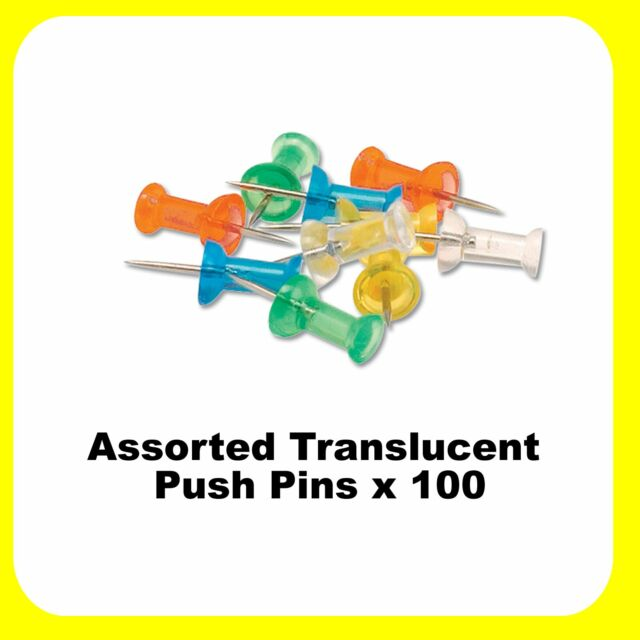 Push Pins 100 x Assorted Translucent / Clear Colour - 925052