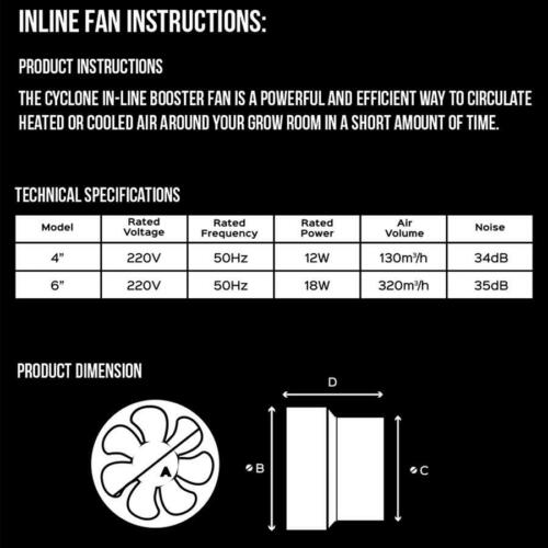 Cyclone Inline Booster Fans 4 /& 6 Inch 100mm 150mm Extractor Fan Hydroponics