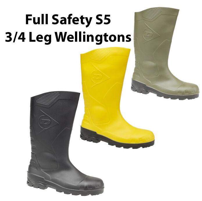 Dunlop Devon 3 4 Full Safety S5 Mens Rubber Wellingtons Boots UK3-13