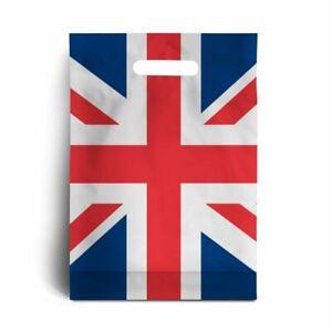 "Union Jack Print Standard Plastic Carrier Bags 10"" x 12"" + 4"" is 45mu 180 gauge"