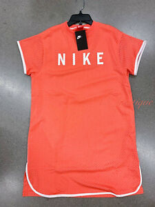 NWT-Nike-BQ6738-816-Women-039-s-Sportswear-Graphic-Mesh-Dress-Orange-White-Sizes-XL