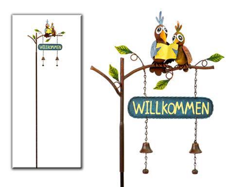 Stecker Vogelpaar Dekoration Garten Terrasse Beet Metall Topfstecker Vogel 12648