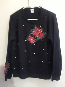Adrian-Delafield-Womens-Black-Red-Poinsettia-Christmas-Sweater-Pullover-L