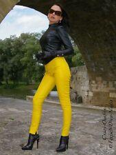 Lederhose Leder Hose Knalleng Gelb Verschluß hinten Maßanfertigung