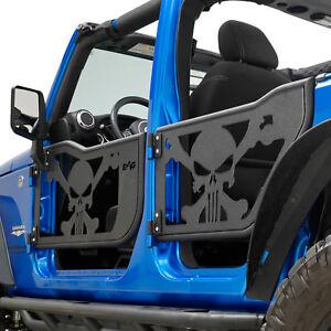 Image is loading 07-18-Jeep-Wrangler-JK-4-Door-Skull- & 07-18 Jeep Wrangler JK 4 Door Skull Tubular Doors Black With ...