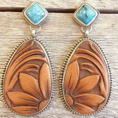 Femmes Vintage Turquoise Alliage Ear Stud Dangle Boho Boucles d/'Oreilles Mariage Bijoux