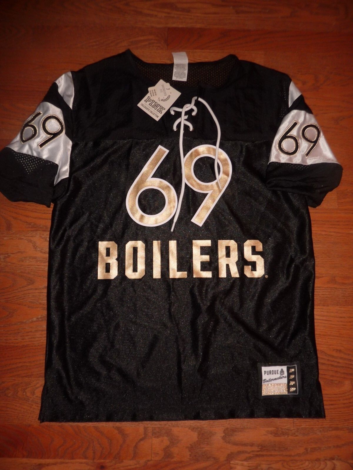 VICTORIAS SECRET PINK PINK PINK BLING PURDUE  BOILERS  69 OVERSIZE JERSEY NWT ef0a7b