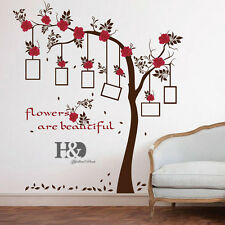 Removable Red Flower Photo Frame Tree Wall Decal Sticker Vinyl Home Decor New