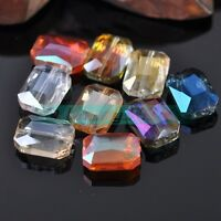 5pcs 18x13mm Rectangle Faceted Crystal Glass Charm Findings Spacer Loose Beads