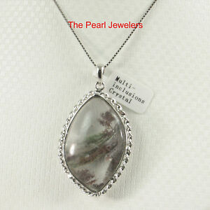 Gray natural multi inclusion quartz crystal sterling silver necklace image is loading gray natural multi inclusion quartz crystal sterling silver aloadofball Image collections