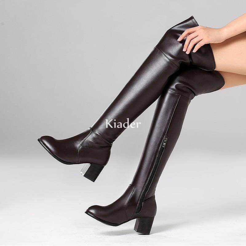 Reiterstiefel Damen Overkneestiefel Blockabsatz High Heels zip Stiefel 44 45 46 47