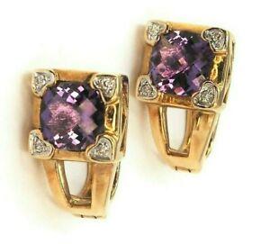 Amethyst & Diamond Clip on Stud Earrings Pierced Ears Women's Fine Jewellery