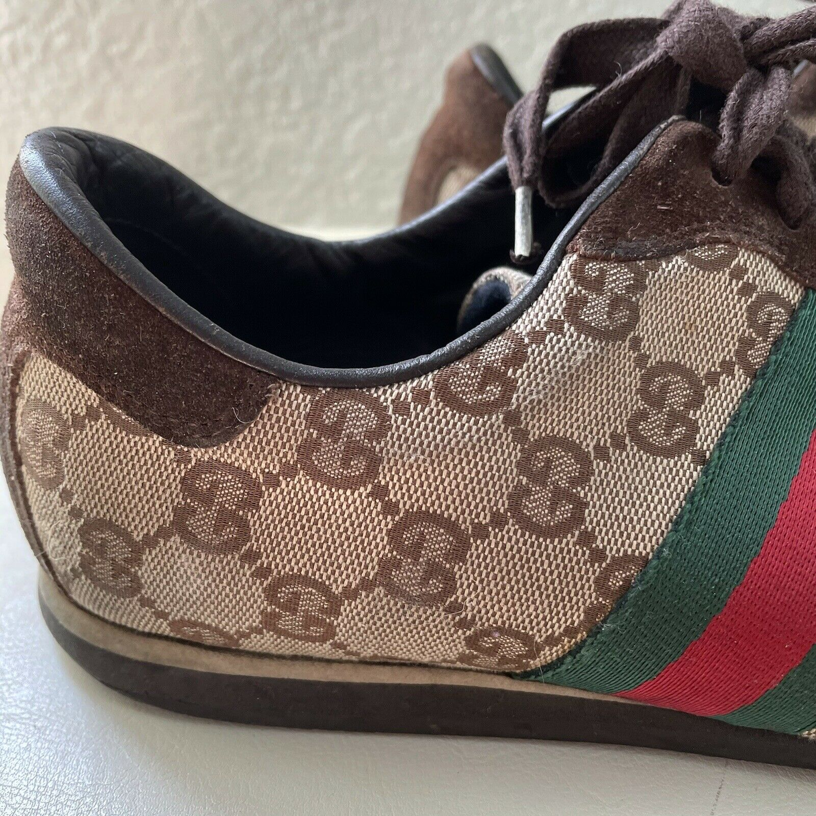 Vintage Classic Brown Green Red Gucci Logo Canvas… - image 6