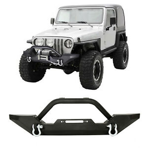 Front-Bumper-Winch-Plate-D-Ring-Rock-Crawler-For-1986-2006-Jeep-Wrangler-TJ-YJ