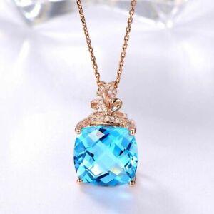 Luxus-925-Sterling-Silber-Halskette-Aquamarin-Edelstein-Anhaenger-Damen-Geschenk