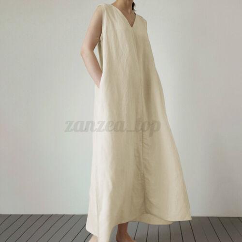 ZANZEA Women Sleeveless V-Neck Loose Dress Sundress Vacation Party Solid Dresses