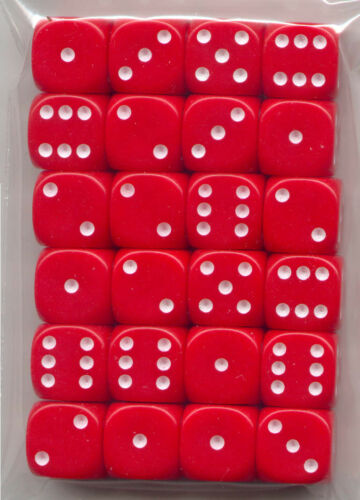 NEW Dice Set of 24 D6-14 mm Opaque Red