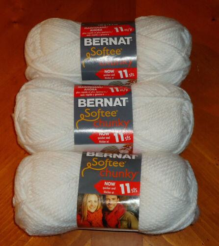 Bernat Softee Chunky Yarn Lot Of 3 Skeins White #28005