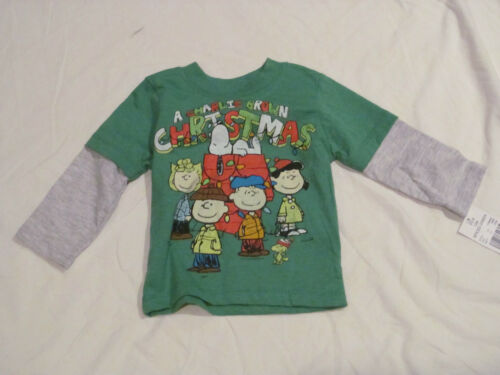 BRAND NEW BOYSGIRLS WITH TAGS A CHARLIE BROWN CHRISTMAS GREEN LONG SLEEVE 12M