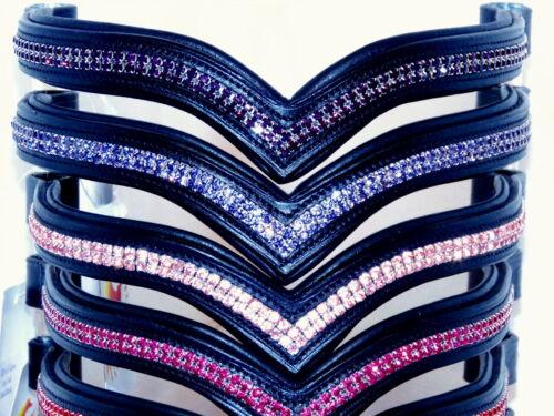 FSS 2 Row V VEE SHAPE GLOW Crystal Bling Browband RED BLUE GOLD PURPLE PINK AQUA