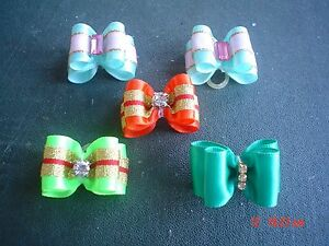 Pretty-Green-Orange-Mixed-Show-Style-Dog-Grooming-Bows-Diamante-Centre
