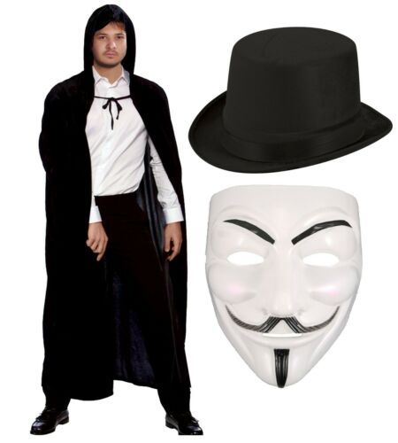 ANONYMOUS HORROR FANCY DRESS COSTUME PROTEST MARCH HACKER HALLOWEEN GUY FAWKES