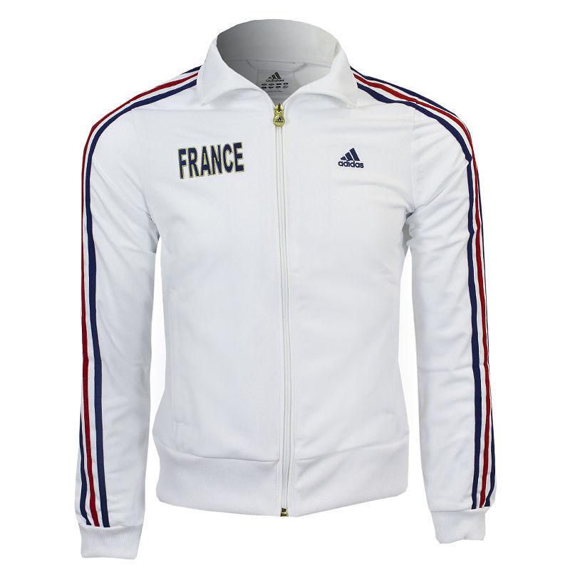 Sweat-shirt de football pour femme FRANCE ADIDAS ZIP TRACKSUIT TOP taille L