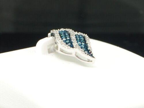 Mesdames 10K or Blanc Diamant Bleu Designer Pendentif Breloque Pour Collier .10 ct